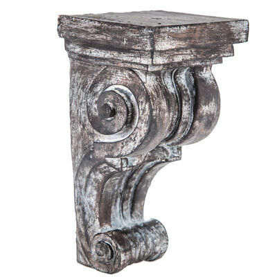 Primitive Set of 2 Corbel Wall Brackets Large Distressed Scroll Wood Corbels