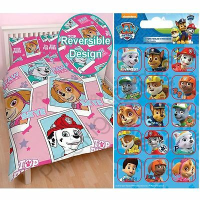 Paw Patrol Stars Double Duvet Cover Rotary Bedding + Free Small Stickers New