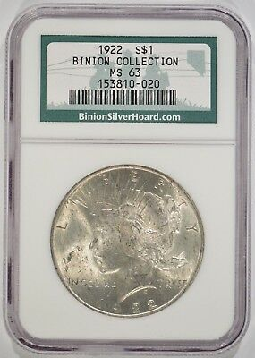 United States 1922 Peace Silver Dollar $1 NGC MS63 Binion Collection 153810-020
