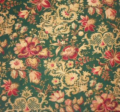 BEAUTIFUL ANTIQUE 19th CENTURY FRENCH LINEN INDIENNE CRETONNE, PROJECTS REF