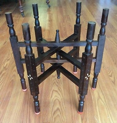 Mcm Moroccan Brass Tray Table Folding Wood Base 6 Leg Stand Only Inlaid Abalone