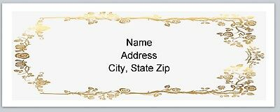 Personalized Address labels Gold Flower border Buy 3 get 1 free (p 120)