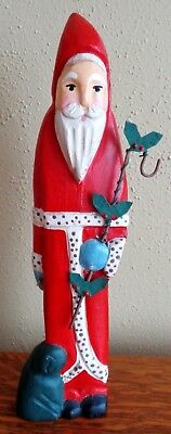 "Vintage Wooden Hand Carved Santa Claus Figure 9.75"" Christmas"