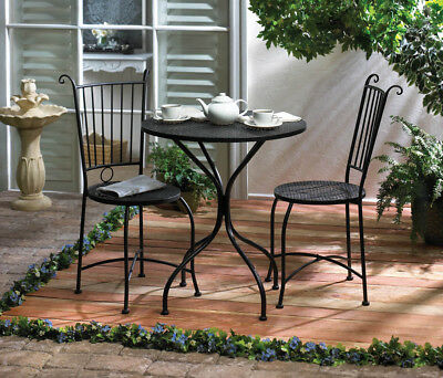 Patio Bistro Set 3 Piece Black Metal Lattice Top Table Two Matching Chairs  New