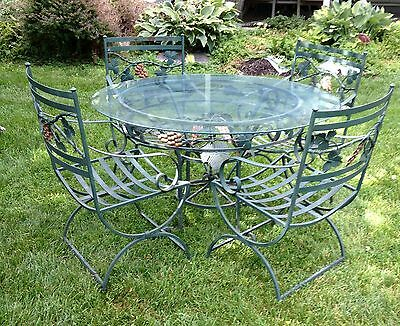 Vintage Wrought Iron Patio Set Furniture 5 Piece Set Glass Top Table Heavy Duty