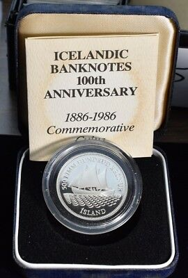 1986 Iceland Banknotes 100th Anniversary Sailboat 20g Silver - Proof