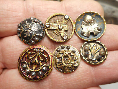 Lot of 6 Cut Steel Steel in Brass Victorian Antique Buttons 11/16""