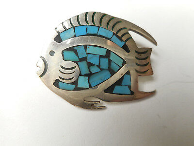 Sterling Silver Fish w/ Turquoise Chips in Enamel Vintage Button Mexico 925