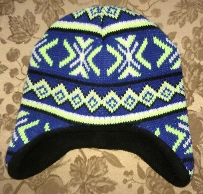 toddler boy BLUE BLACK BRIGHT GREEN KNIT WINTER HAT ONE SIZE HEALTHTEX LINED  FLE 926fd5a9c7a3