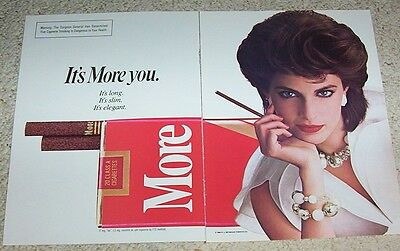 1984 print ad - More Cigarettes SEXY Girl smoking Vintage tobacco 2-page ADVERT
