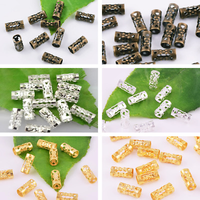 3Colors Gold-Silver-Bronze Spacer Beads Metal Hollow Tube Jewelry Findings 4x8mm