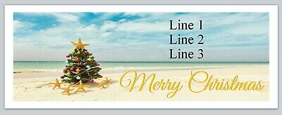 30 Personalized Return Address Labels Beach Christmas Buy 3 Get 1 free (ac 298)