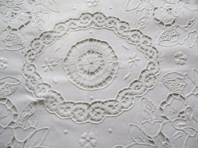 ViNTAGE CUSHION COVER HAND EMBROIDERY & HAND BOBBIN LACE TRIM-UNUSED