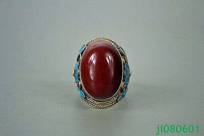 China Collectible old rose red jade Carve Flower Beauty Inlay adjustable Ring