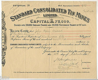 Share Scrip - Mining. 1913 Standard Consolidated Tin Mines.. (Charters Towers?)