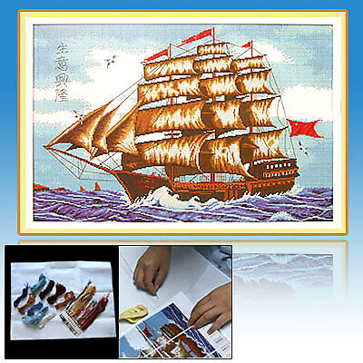 Sailboat in the Sea Counted Handmade Cross Stitch Kit