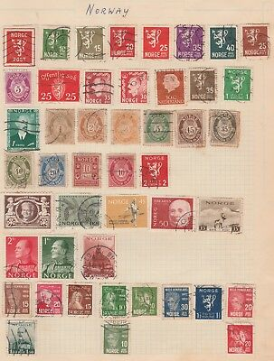 NORWAY COLLECTION 46 stamps Variety, etc on Old Book Pages USED as per scan #