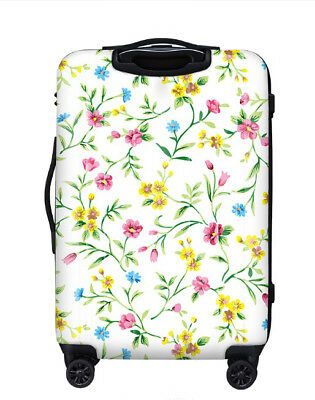E243 Lock Universal Wheel Yellow Flowers Travel Suitcase Luggage 28 Inches W