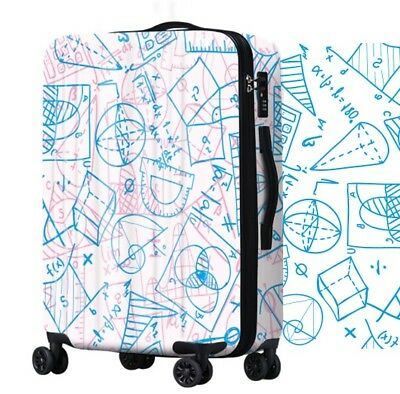 E442 Lock Universal Wheel Blue Geometric Travel Suitcase Luggage 28 Inches W