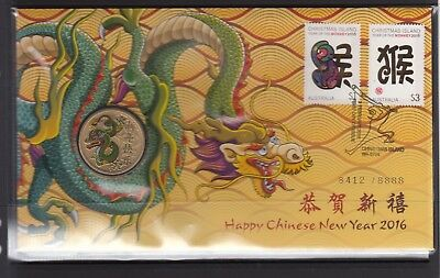 CHRISTMAS ISLAND 2016 Chinese New Year PNC in Perfect Condition LTD Edition