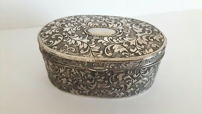 Vintage Plated Trinket Box - possibly white metal or EPNS