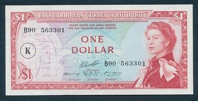 East Caribbean States: ST KITTS 1965 $1 QEII Portrait. Pick 13k, UNC Cat $67