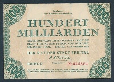 Germany: WEIMAR REPUBLIC 3-11-1923 100 Milliarden Mark. Unlisted in Pick