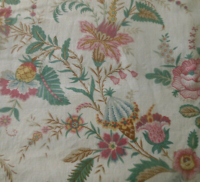 Vintage French Time Softened Indienne Floral  Cotton Fabric ~ Rose Pink Green