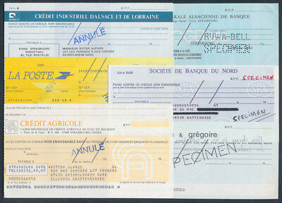 France: 1980s COLLECTION of 6 different SPECIMEN Cheques, SUPERB starter lot