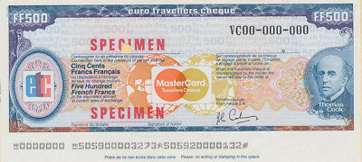 France: 1984 Thomas Cook & Mastercard 500 Franc SPECIMEN Euro Travellers Cheque