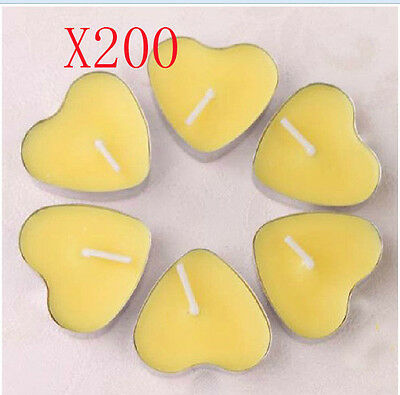 200X Wedding Party Romantic Heart-Shaped Yellow Candles Wholesale Lots 200 PCS