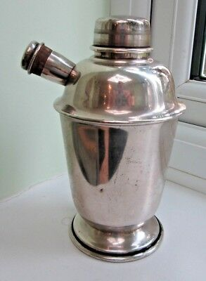 .original Vintage Art Deco Silver Plate Machine Cut Top Cocktail Shaker