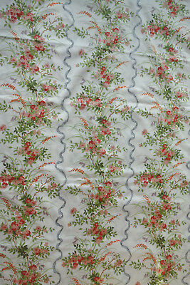 vintage  curtain fabric 3ydsx50 inch wide rose and ribbon