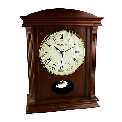 DAMAGED Wooden Wood Brown Mantel Table Clock w Pendulum Roman Numerals