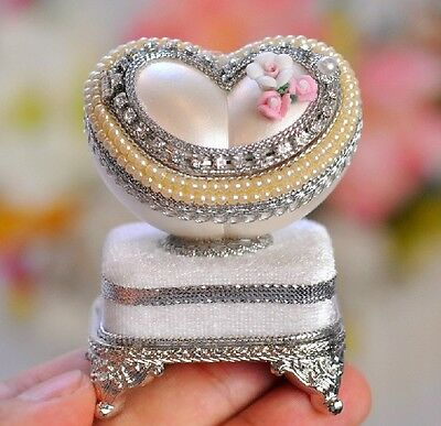 "* New Silver Heart-shaped Egg Carving ""Over The Rainbow"" Music Box Birthday Gift"