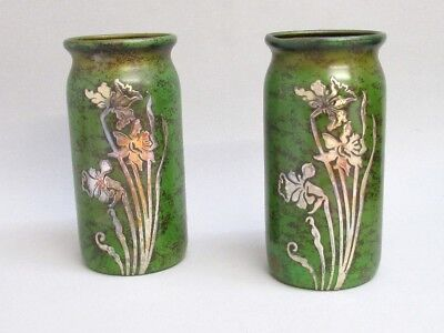 STUNNING MATCHING PAIR HEINTZ STERLING SILVER ON BRONZE DAFFODIL VASES No 3846