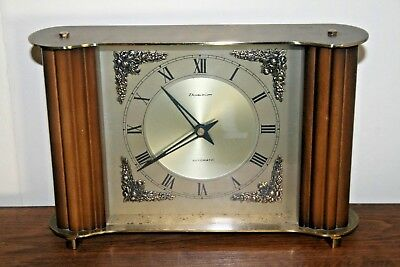 Vintage Retro 1950s Dominion Smiths Brass & Wood Clock Battery Kitsch Time Piece