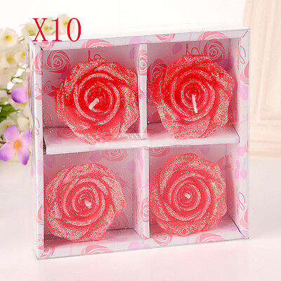 10X Red Wedding Party Romantic Rose-Shaped Red Candles Wholesale Lots 10 Set