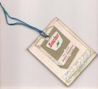 1967 Sinclair All Year Anti Freeze Ethylene Glycol Base Hang Tag Oil Change