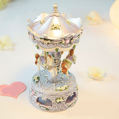 "* New Creative Silver Resin ""Memory"" Carousel Rotating Music Box Birthday Gift"