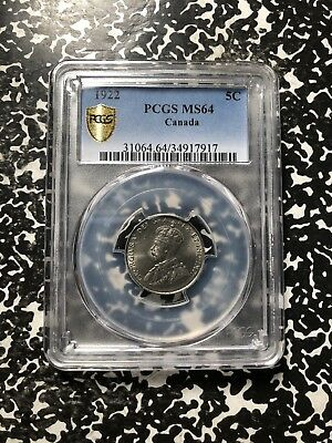 1922 Canada 5 Cent Nickel PCGS MS64 Lot#G717 Nice UNC Example!
