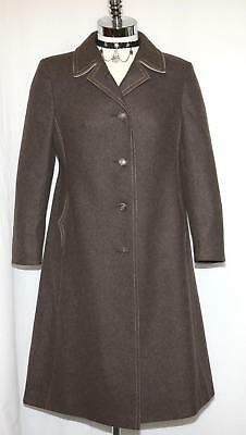 BROWN ~ Loden WOOL Women German Hunting WINTER Trench Jacket LONG Over Coat 10 M