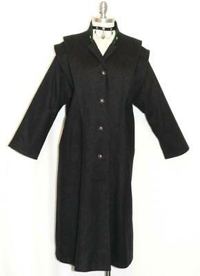 BLACK ~ BOILED WOOL German Women WINTER / WARM LONG Trench Over Coat Eu 38 14 L