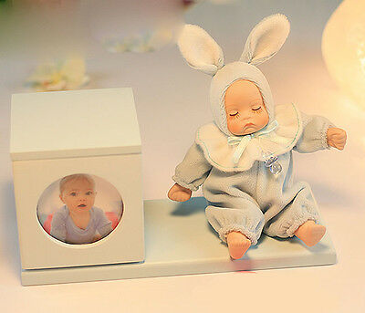 "* Blue Creative Doll Pen Case + Frame ""Lullaby"" Rotating Music Box Birthday Gift"