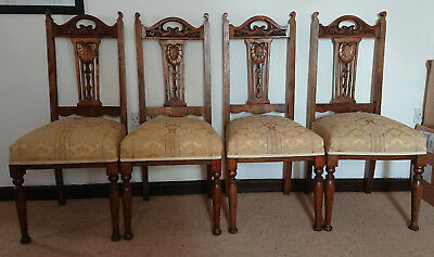 Set of 4 antique carved Solid Beech Chairs