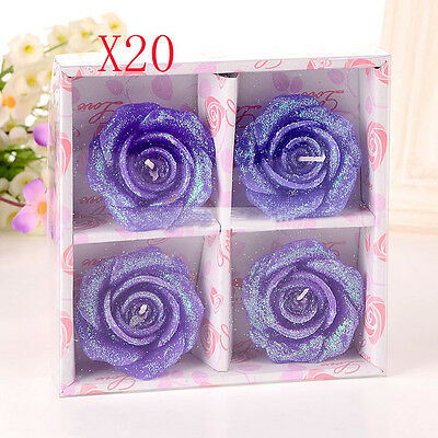 20X Purple Wedding Party Romantic Rose-Shaped Red Candles Wholesale Lots 20 Set