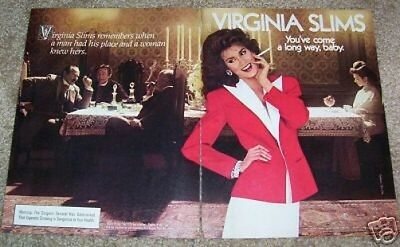 1984 vintage ad -Virginia Slims cigarettes- woman's place Sexy Girl smoking AD