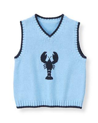 Janie & Jack Sz 4 Blue Lobster Sweater Vest At the Shore NWT New Boys Spring