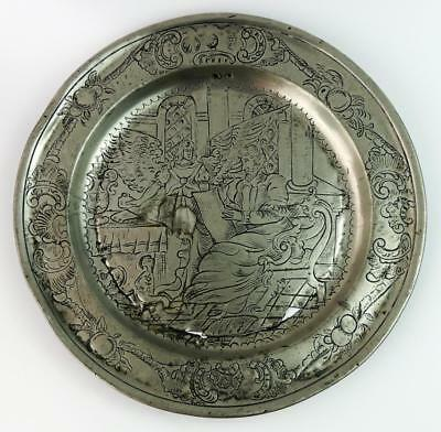 17th CENTURY ENGRAVED PEWTER DISH Dated 1661 ANGEL RELIGIOUS SCENE