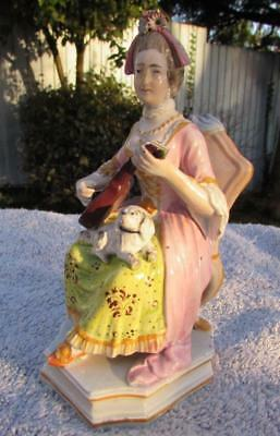 Exquisite Antique English Staffordshire Pearlware Lady Musician Circa 1820